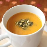 Pumpkin Coconut Soup with Basil Pesto