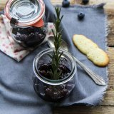 Blueberries in Rosemary Wine with Langues de Chat Biscuits