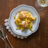 Pan-fried Scallops with creamy vegetables