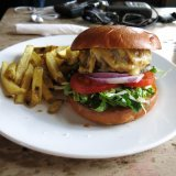 Delicious burger at The Old Red Cow
