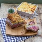 Feta-crusted rack of lamb with mint sauce