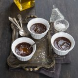 Chocolate Pots with olive oil and sea salt flakes