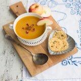 Pumpkin Apple Soup with Parmesan Crisps