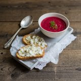 Beetroot Apple Soup with Fennel Goat's Cheese Croutons