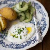 New potatoes with quark and cucumber salad