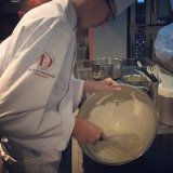 Whipping everything by hand at Ducasse