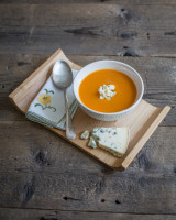 Roast Pumpkin Soup with Blue Cheese