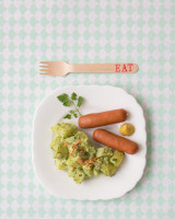 Green Potato salad and sausages