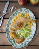 Cider Chicken with Hasselback Potatoes