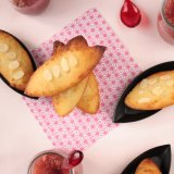 Rhubarb Compote with Honey Financiers