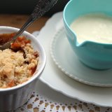 Apple and pear crumble with custard