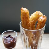 Churros with a dark chili chocolate dip
