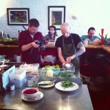 Arthur filming the super salad prep at Wild Food Café