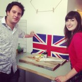 Ryan came up with the brilliant idea of shooting the fish and chips in front of the Union Jack