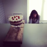 The epic trifle - show director Ayshea looks lost behind that beast!