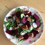 Mackerel beetroot radish salad by Ms Deblir