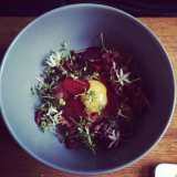 Beetroot beef tartare at Oliver and The Black Circus