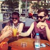 Our crew guys Ben and Nathan enjoying the Barcelona sun