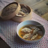 New year food: ginger broth with pork dumplings