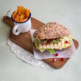 Halloumi Burger with Pomegranate Guacamole