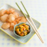 Beer-battered prawns with mango salsa