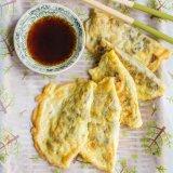 Chinese egg dumplings, rice, sugar snap peas