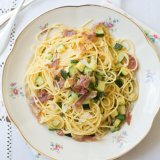 Spaghetti with Zucchini ribbons and Pancetta