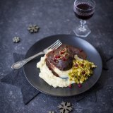 Mulled wine beef cheeks with parsnip puree