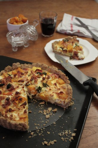 Butternut Squash and Bacon Quiche