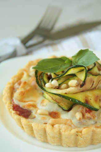 Courgette and Taleggio Tart with Polenta Pastry