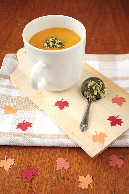 Pumpkin Coconut Soup with Basil Pesto