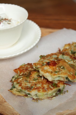 Fennel and Mint Fritters with Yoghurt Dip