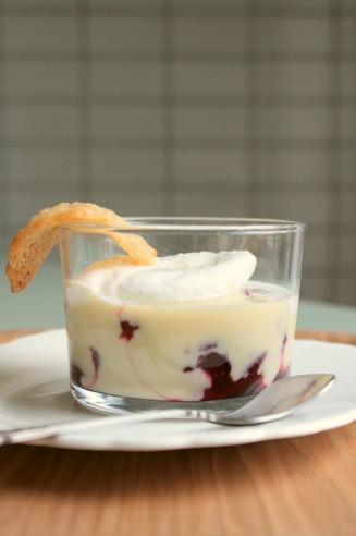 Cherry Ile Flottante with Honey Tuiles