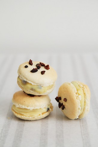 White chocolate and cocoa Macarons