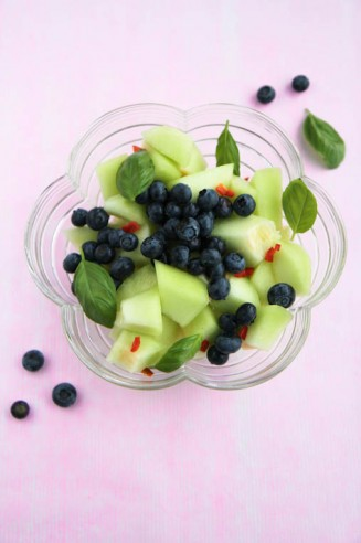 Melon and Blueberry Salad with a Spicy Kick