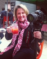 Camera woman Emma enjoying a Bloody Mary
