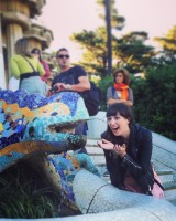 Having a laugh with Gaudi's lizard at Park Guell