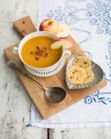 Pumpkin Apple Soup with Parmesan Crisps