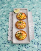 Sweetcorn tostadas with smoky mayonnaise, parmesan and coriander
