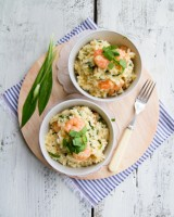 Wild garlic prawn risotto