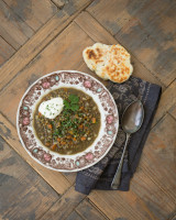 Indian style lentil soup with naan bread