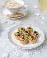 Vegan cups stuffed with quinoa, herbs, lemon juice and pomegranate seeds